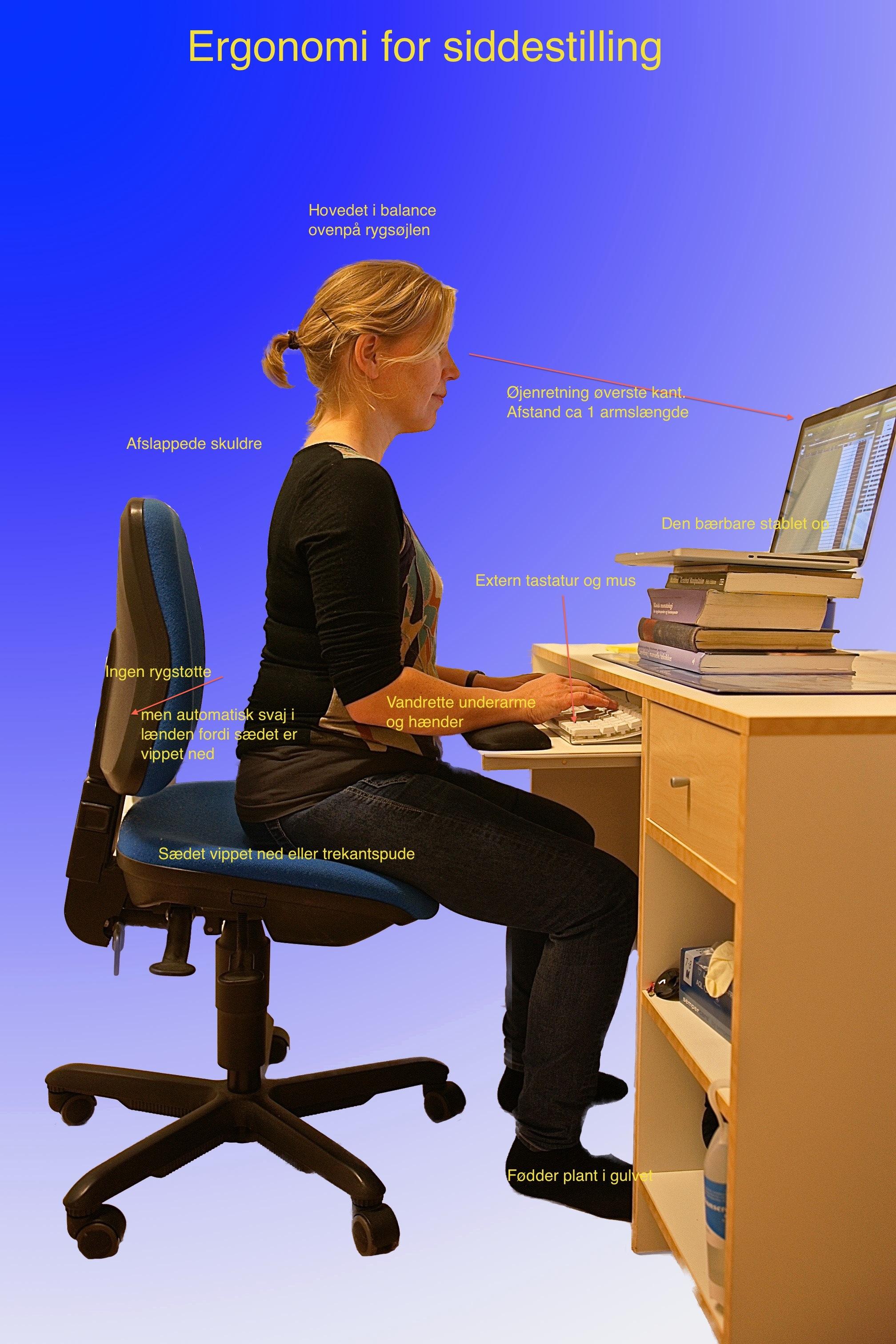 Ergonomisk korrekt siddestilling
